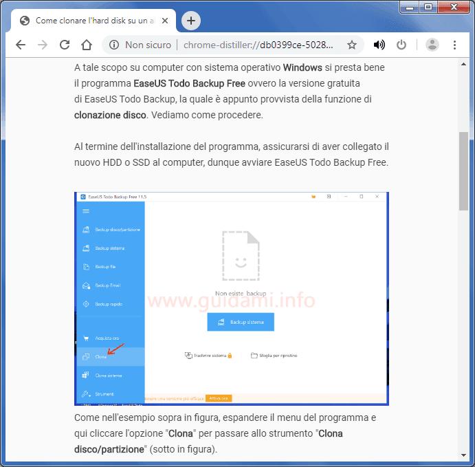 Chrome con visualizzazione Pagina Distill ovvero modalità di lettura attivata