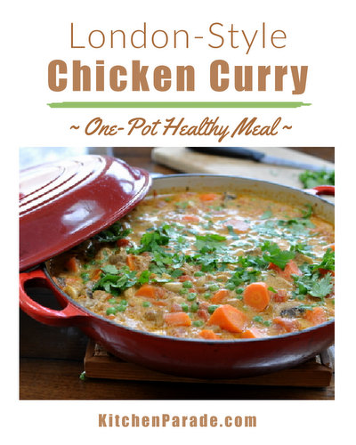 Chicken Curry ♥ KitchenParade.com, one-pot supper reminiscent of London's best take-away curries. Great with beef, too!