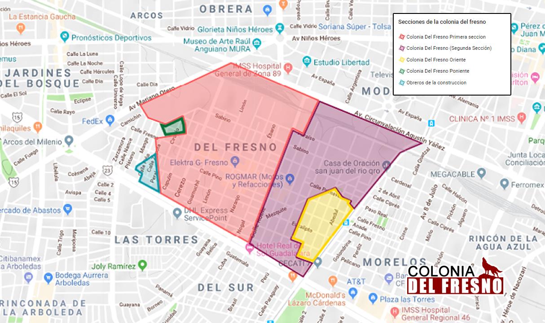 Mapa de la Colonia Del Fresno con todas las secciones