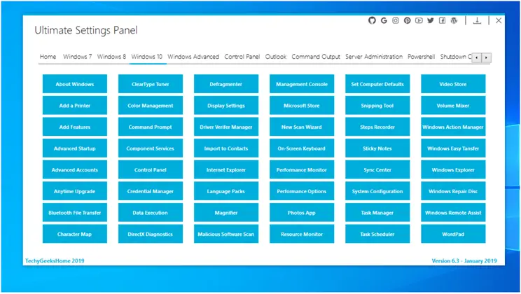 Ultimate Settings Panel :  Όλες μαζί οι ρυθμίσεις επιλογών διαμόρφωσης στα Windows