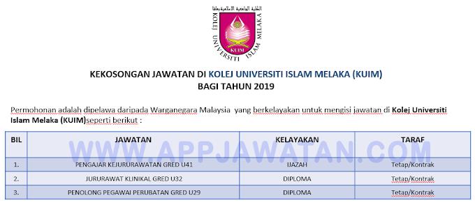 Jawatan Kosong Terkini di Kolej Universiti Islam Melaka (KUIM).