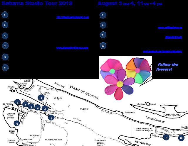 Map - Saturna Island Studio Tour 2019, August 3-4, British Columbia Canada