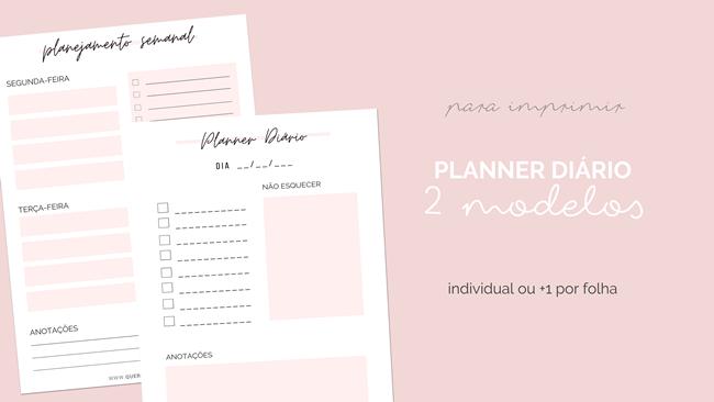 2 Modelos Planner de Rotina para Fazer Download e Imprimir