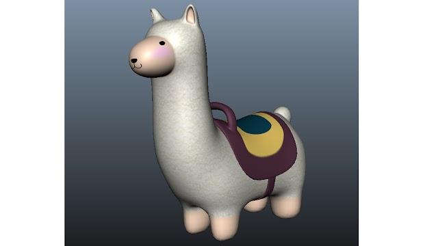 llama 3d model free download obj, maya