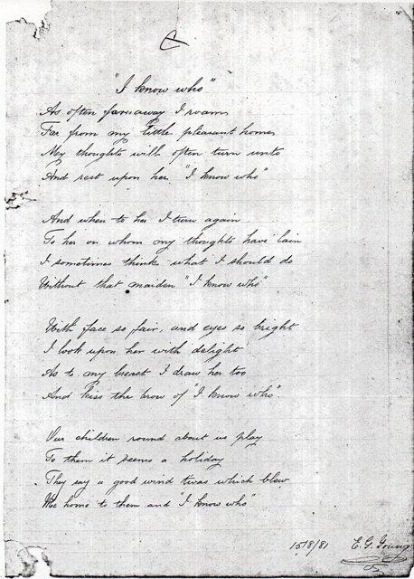 """Poema escrito por Young, """"I know who"""", em 15/8/1881."""