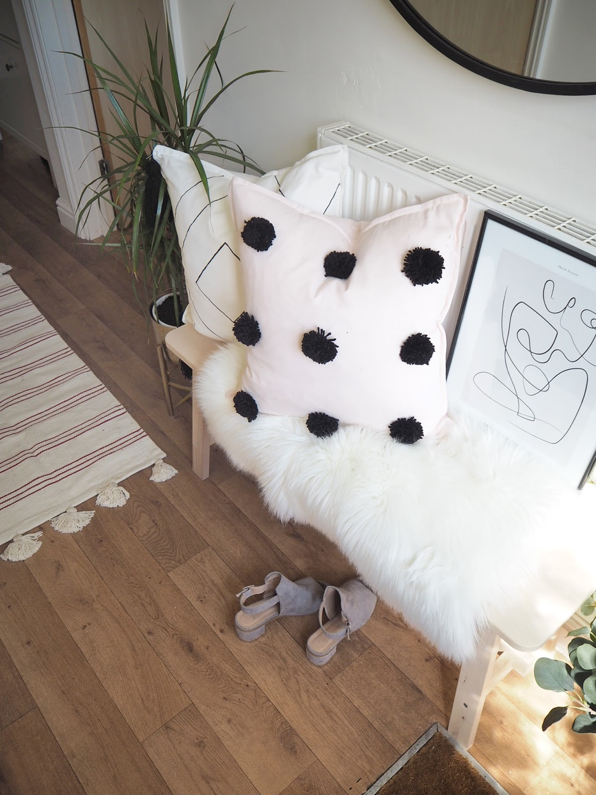 hallway transformation using ikea furniture, upcycled chairs, diy gallery wall and painting a stair banister to create a scandi-boho style hallway which will make a good impression to visitors. How to style home decor accessories and use interior design to transform a space on a budget.