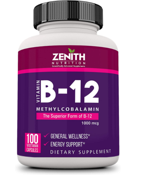 Zenith Nutrition Methylcobalamin (Vitamin - B12 for Brain and Nervous support) - 100 Veg Capsules | Lab tested