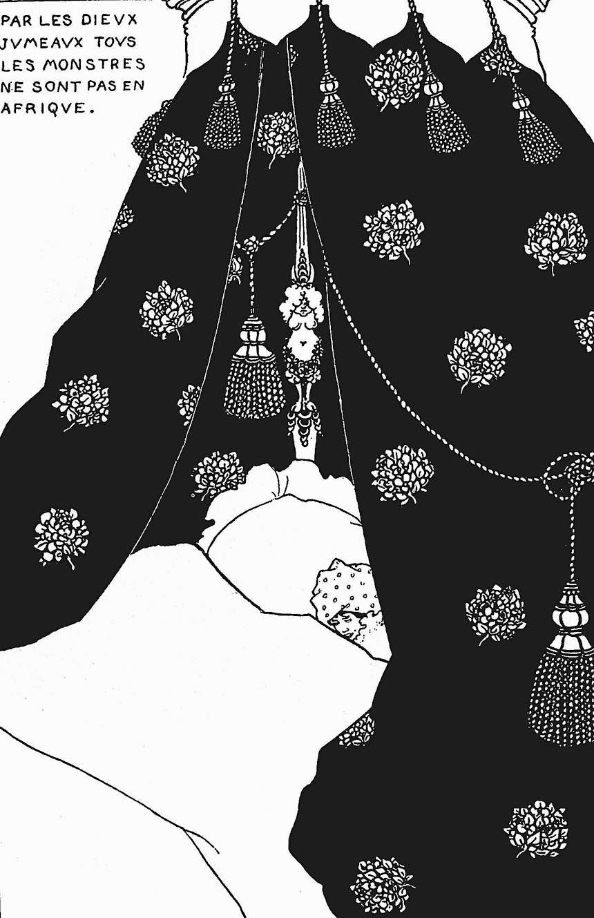 an Aubrey Beardsley illustration of illness and sleep