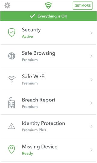 الشاشة الرئيسية لتطبيق Lookout على iPhone