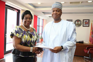 Saraki receives amended Gender Equality Opportunity (GEO) Bill (Photo)