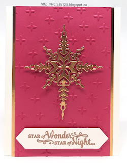Linda Vich Creates: Star of Light. A simple yet elegant card that uses the a copper die cut from the Starlight Thinlits against a sparkle embossed Melon Mambo background.