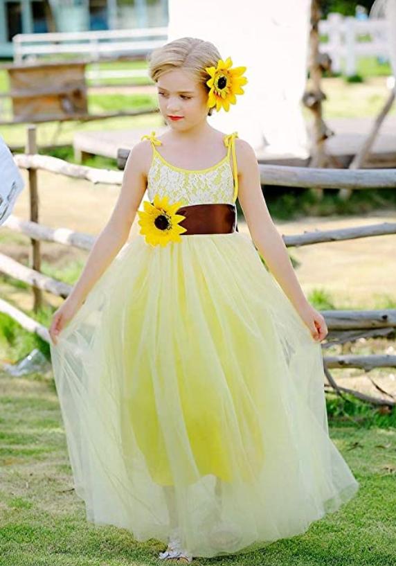 sunflower flowergirl dress bridesmaid