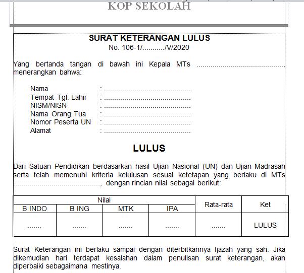 Download Contoh Surat Kelulusan Sd Mi Smp Mts Dan Sma Ma