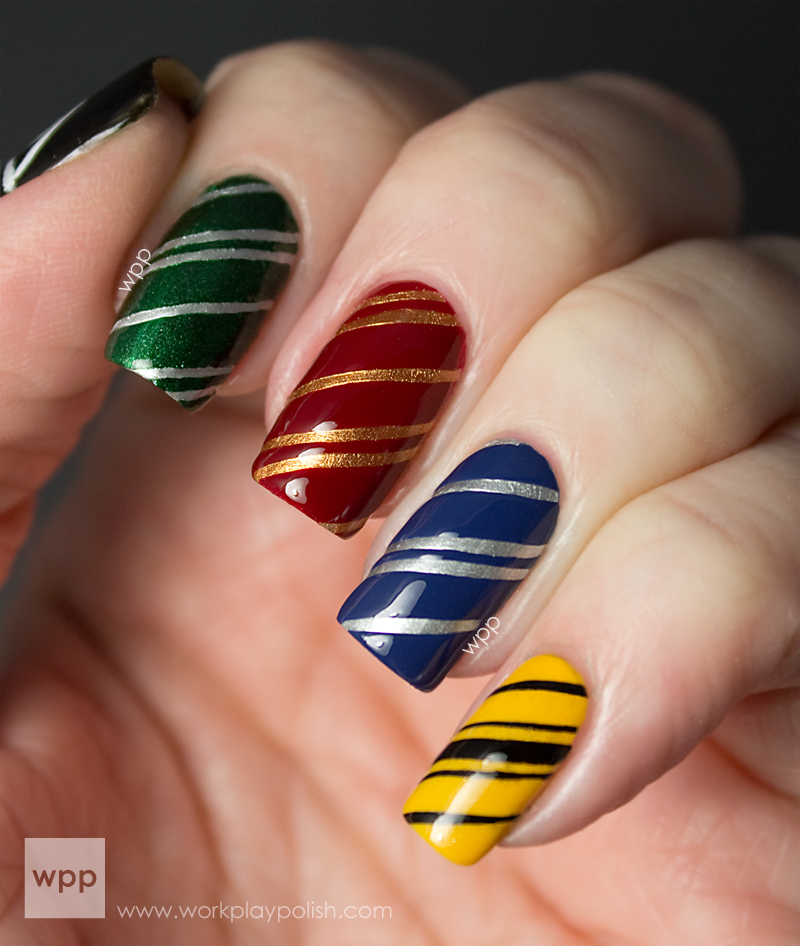 Harry Potter Houses of Hogwarts Nail Art