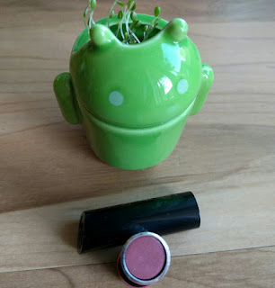 Rimmel The Only 1 Lipstick (color: Naughty Nude) and green Android planter with clover