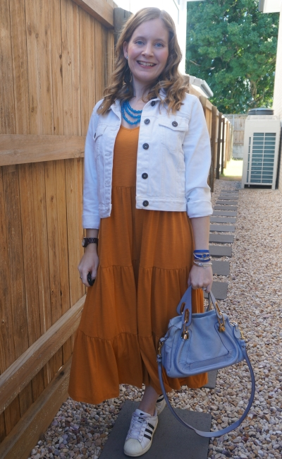 white denim jacket and Kmart short sleeve tiered jersey midi dress in amber with Adidas Superstar sneakers Chloe paraty bag | away from blue