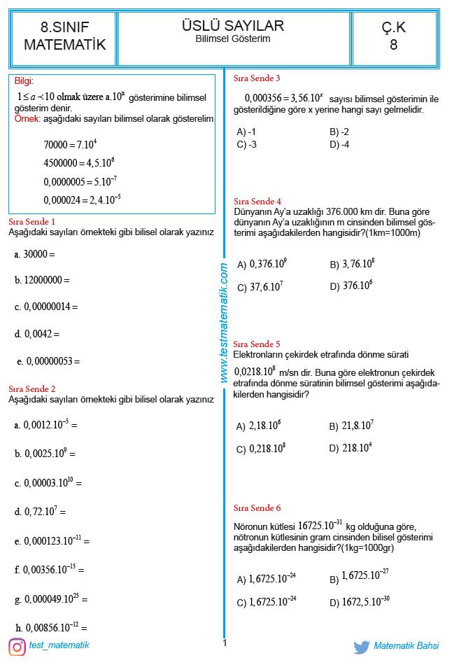 Bilimsel Gosterim Calisma Kagidi Test Matematik
