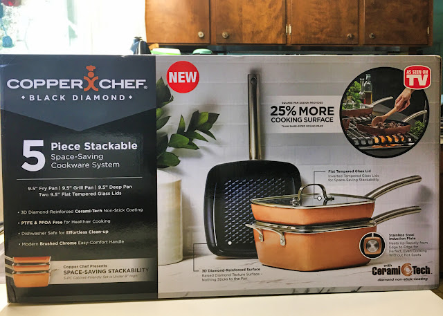 Boxed 5-piece set of stackable space-saving Copper Chef Black Diamond nonstick cookware