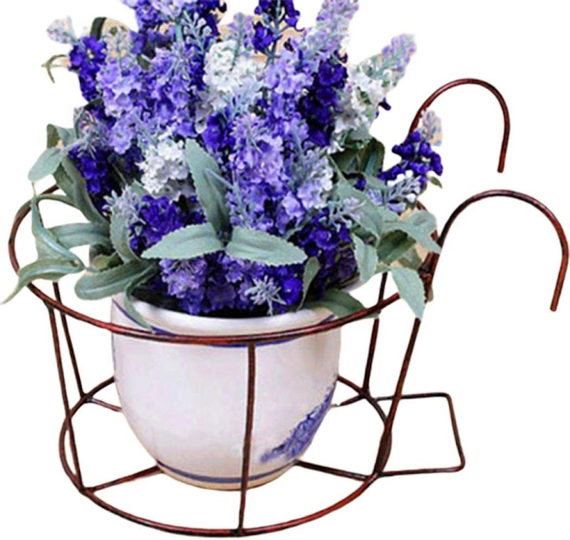 70%  off Wrought Iron Flower Pot Holder Balcony Railing Fence Floral Hanger Hanging Rack Fire Pit & Outdoor Fireplace Parts