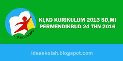 KI,KD KURIKULUM 2013 SD,MI PERMENDIKBUD 24 THN 2016