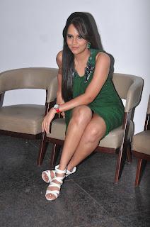 Anasuya in Green Leg Split Gown