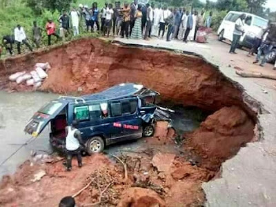 #PrayForBenue: Passengers Stranded As Road Divides Into Two (Pics)