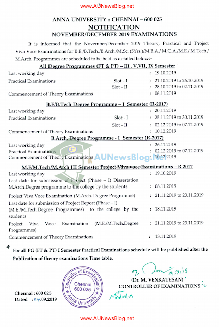 Anna University Practical Exam Schedule Nov Dec 2019 & Last Working Day