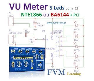 VU Meter 5 LEDs com CI NTE1866 ou BA6144 - Bargraph + PCI