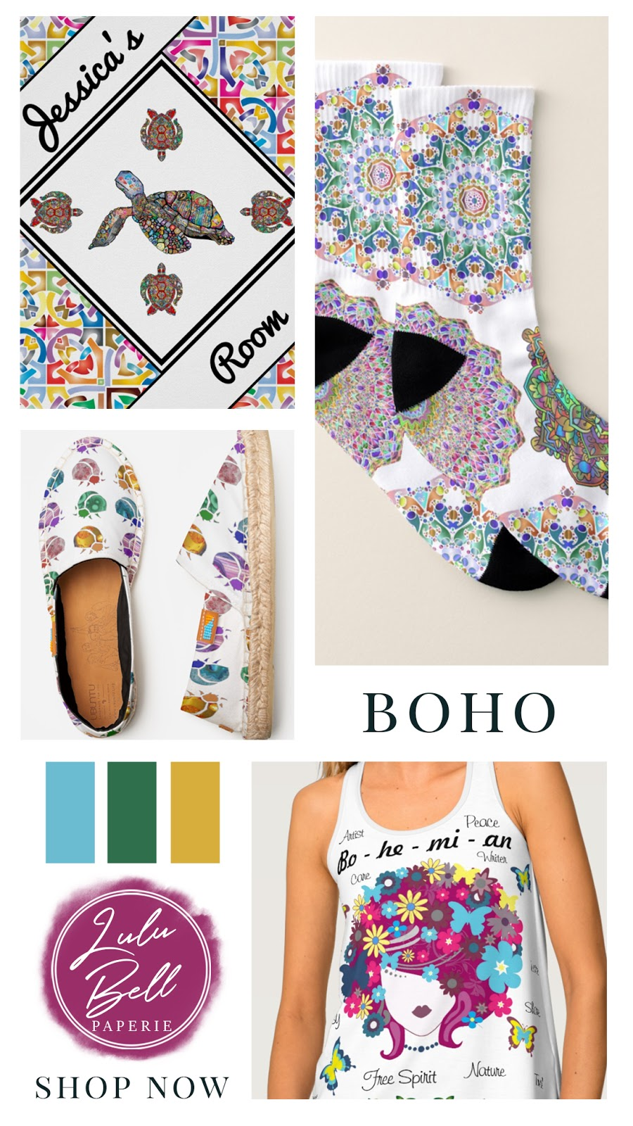 Bohemian Rainbow Home & Gifts Collection - Personalized Room Poster, Mandala Socks, Beetle Espadrilles, and Hippie Tank Top