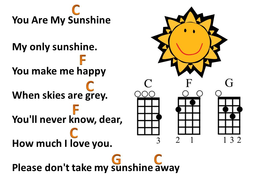 Mr Robbie's Music Blog ♫: You Are My Sunshine lyrics with ukulele
