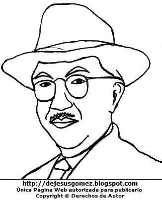 Dibujo de Martín Adan para colorear pintar imprimir. Dibujo de Martín Adan de Jesus Gómez