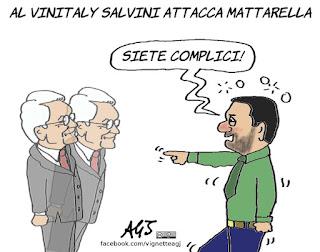 Mattarella, Salvini, Vinitaly, vignetta, satira