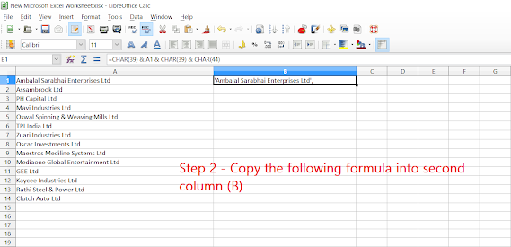 how to add single quote and comma after each record in excel