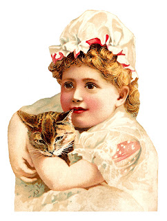 victorian girl cat image digital clipart antique illustration