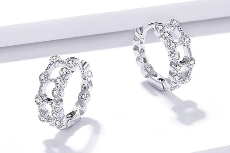 華麗風茱莉雙層鋯石圈圈 925純銀耳環