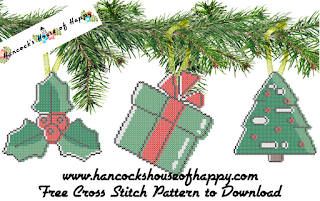 three vector graphic style Christmas cross stitch patterns