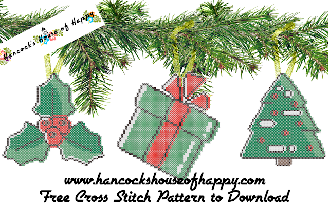Free Vector Graphic Style Cross Stitch Pattern. Vector Graphic Christmas Tree Decorations.