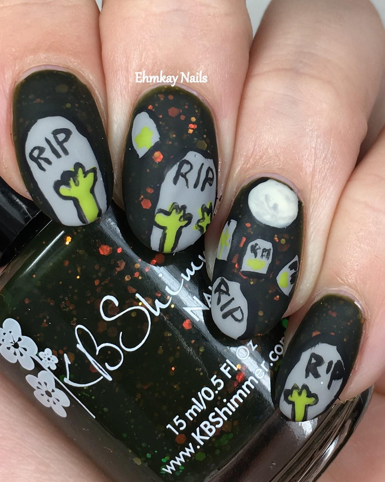 Ehmkay nails halloween nail art from ehmkay nails recap day 1 zombie graveyard prinsesfo Choice Image