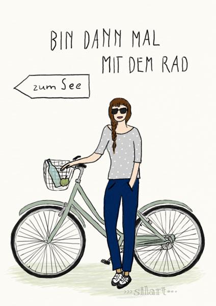 Custom Portrait, Frau mit Fahrrad