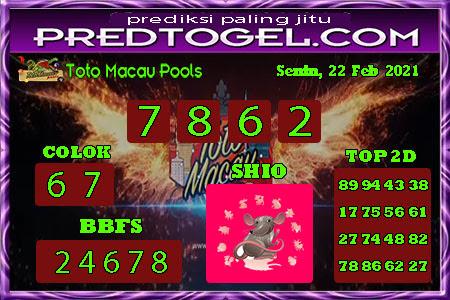 Pred Macau Senin 22 Februari 2021