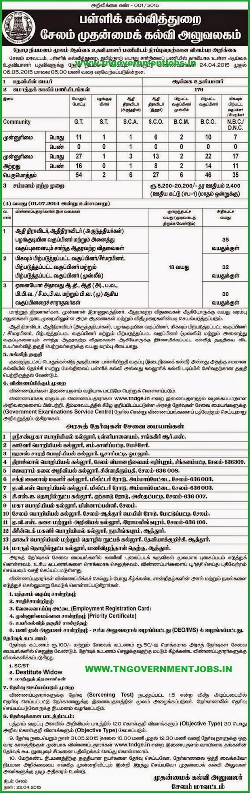 Salem District CEO Govt School Lab Assistant Recruitments (www.tngovernmentjobs.in)