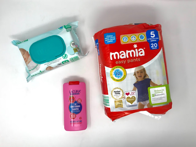 Aldi Mamia baby wipes and pull up pants as well as Lacura kids shampoo in a pink bottle smelling of raspberries