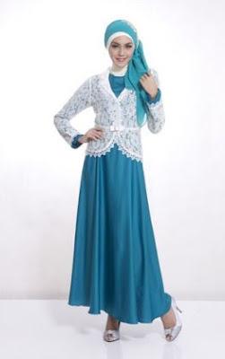 Desain baju pesta muslim brokat