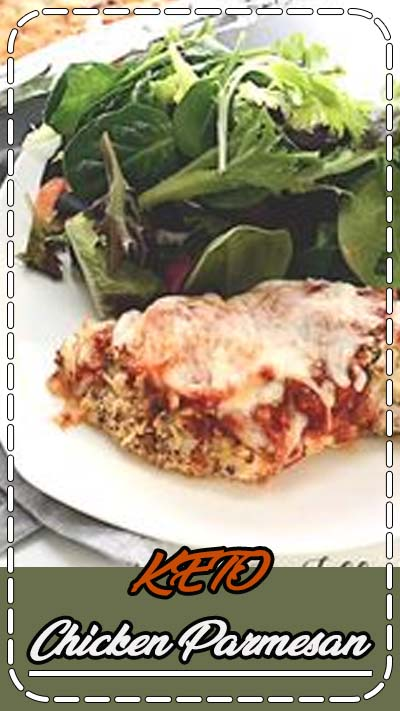 Chicken Parm is one of the dishes at every Italian restaurant in the US. I know why: it's delicious! This easy baked version is breaded with parmesan cheese and herbs and covered with marinara and mozzarella. #keto #grainfree #glutenfree #easyrecipes #Italian #thm #trimhealthymama #chicken #chickenrecipes #dinner #maincourse #chickenparmesan #chickenparm #ketorecipes #lowcarbrecipes Baked Chicken Parmesan - Low Carb, Keto, Grain-Free, Gluten-Free, THM S
