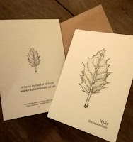 Holly leaf notelet - stipple illustration by Rachel M Scott