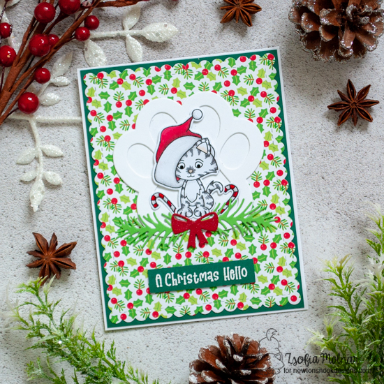 Kitten Christmas card by Zsofia Molnar | A Kitten Christmas Stamp Set, Frames & Flags Die Set, Pawprint Shaker Die Set and Pines & Holly Die Set by Newton's Nook Designs #newtonsnook #handmade