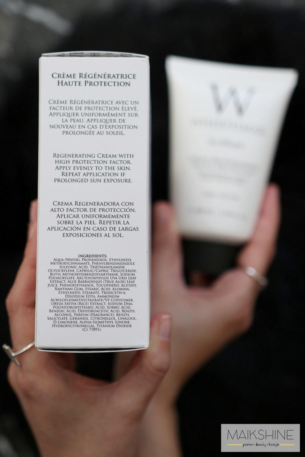 Crème Régénératrize Haute Protection SPF 50 INCI