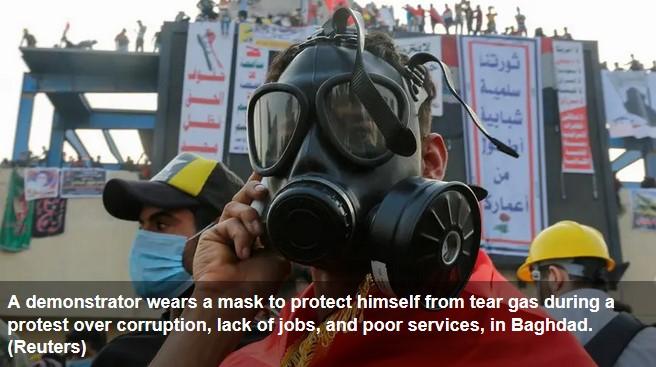 pengunjuk rasa baghdad diserang gas air mata