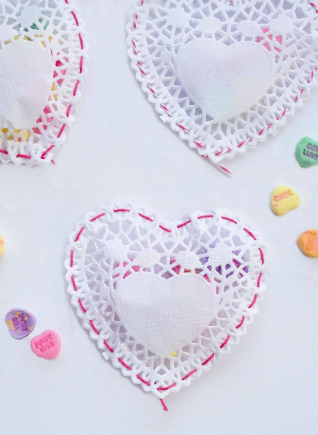 Paper heart doily valentine's day candy pouches