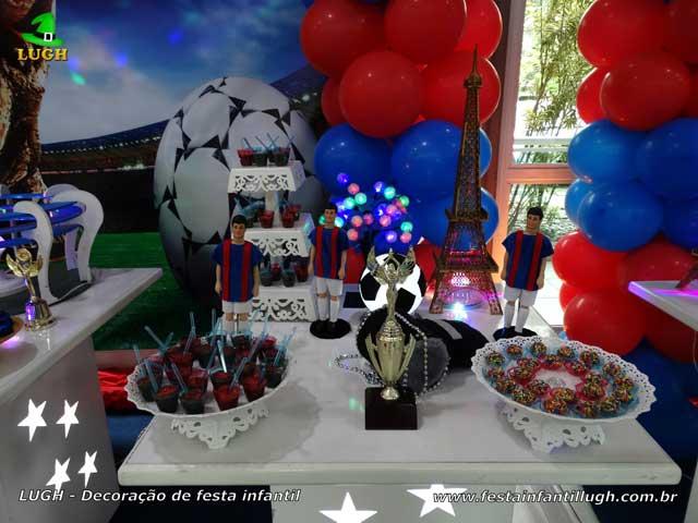 Mesa decorada tema PSG - Decoração festa aniversário